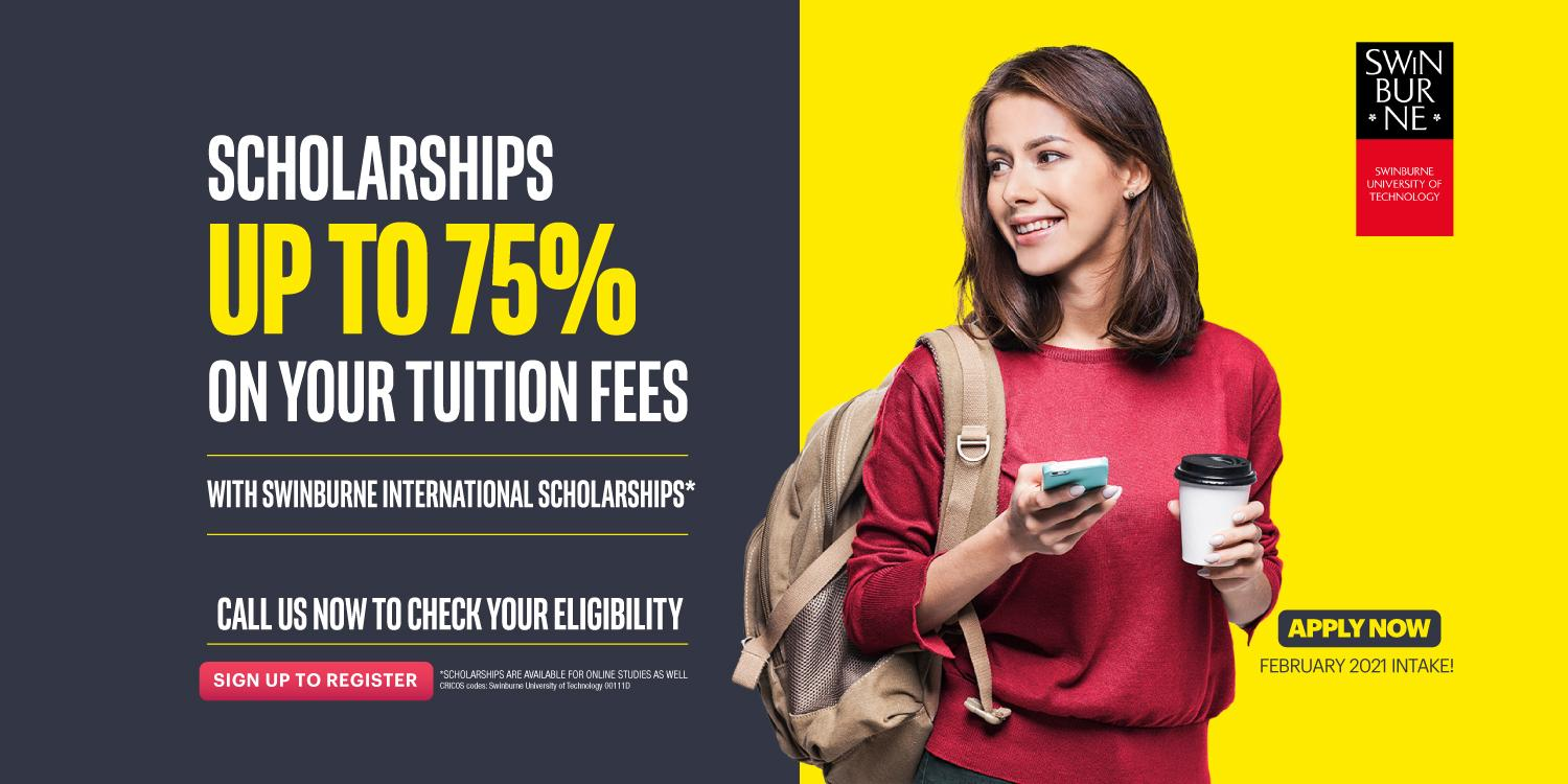 Scholarships up to 75% on your tuition fees*